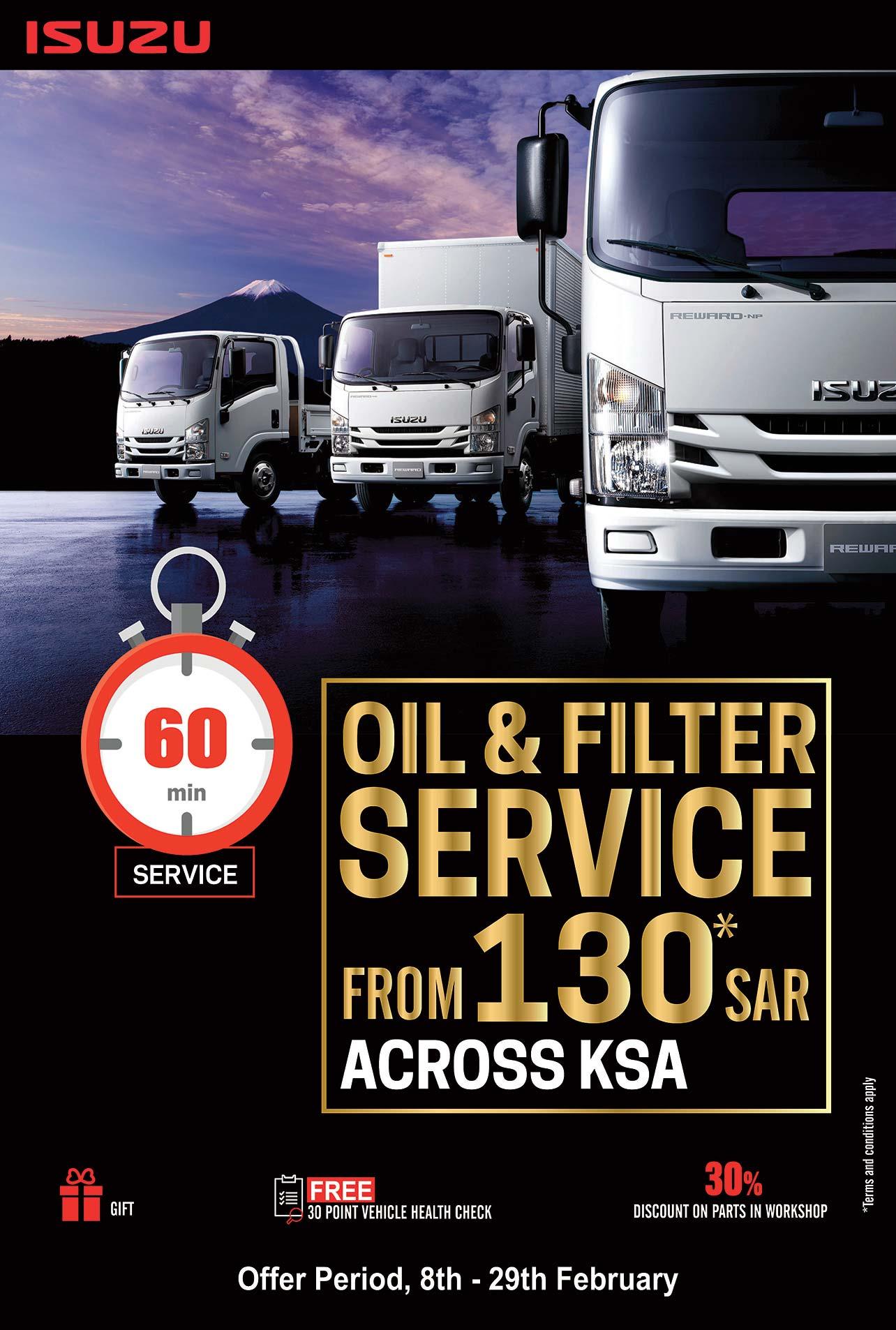 Isuzu 60 min Service with Competitive Price in KSA - English Banner