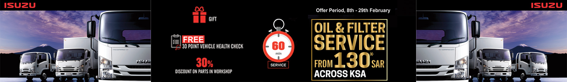 Isuzu 60 min Service with Competitive Price in KSA