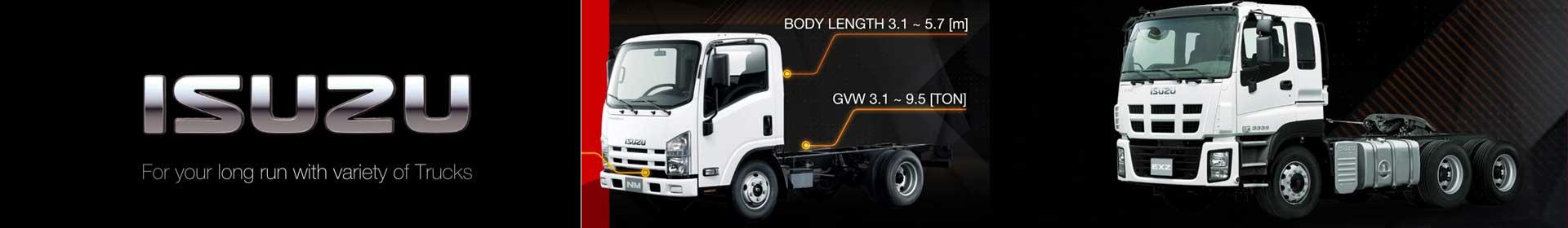 Long Run with variety of ISUZU Trucks