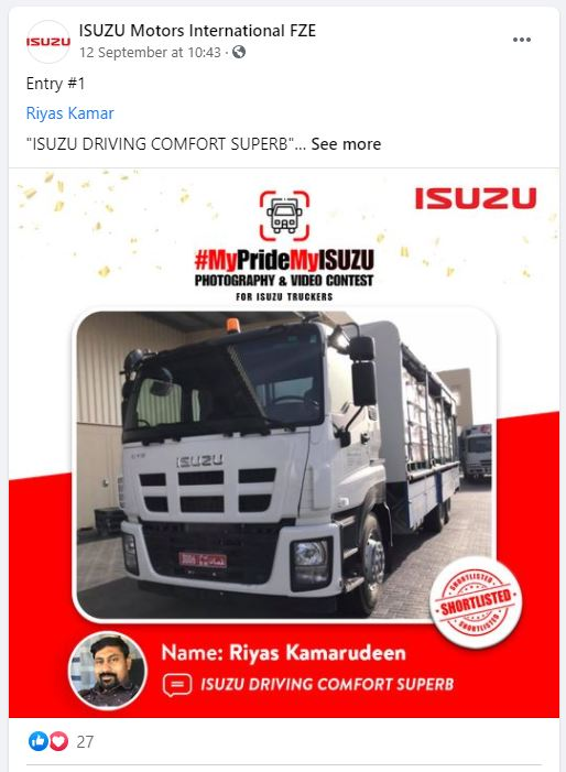 FB - Bronze Winner - OMAN MyPrideMyISUZU
