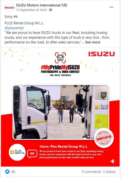 FB - Bronze Winner - Plus Rental Bahrain MyPrideMyISUZU