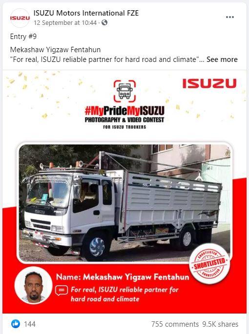 FB - Gold Winner - Mekashaw MyPrideMyISUZU