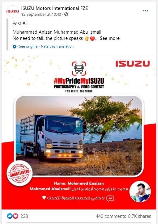 FB - Silver Winner - Jordan MyPrideMyISUZU