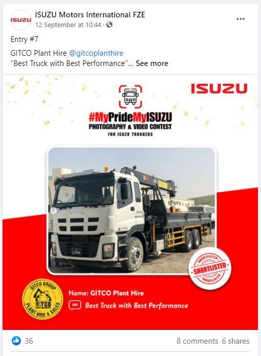 FB - Silver Winner - Qatar GITCO MyPrideMyISUZU