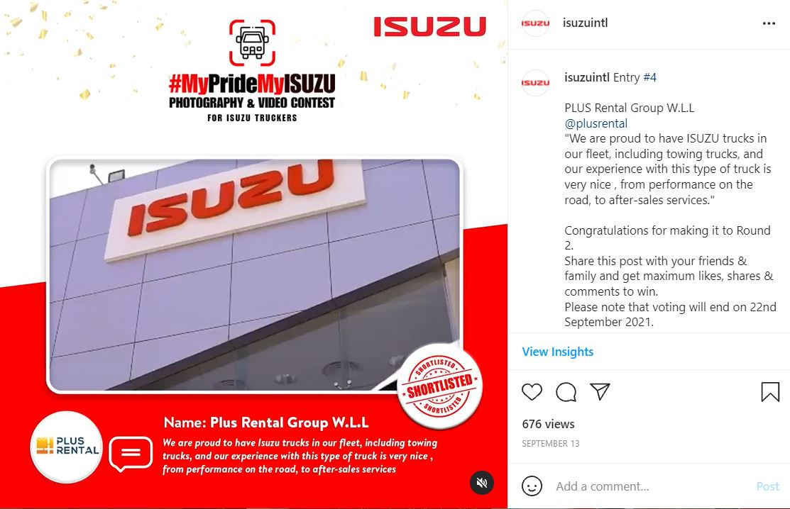 IG - Bronze Winner - Plus Rental Bahrain MyPrideMyISUZU