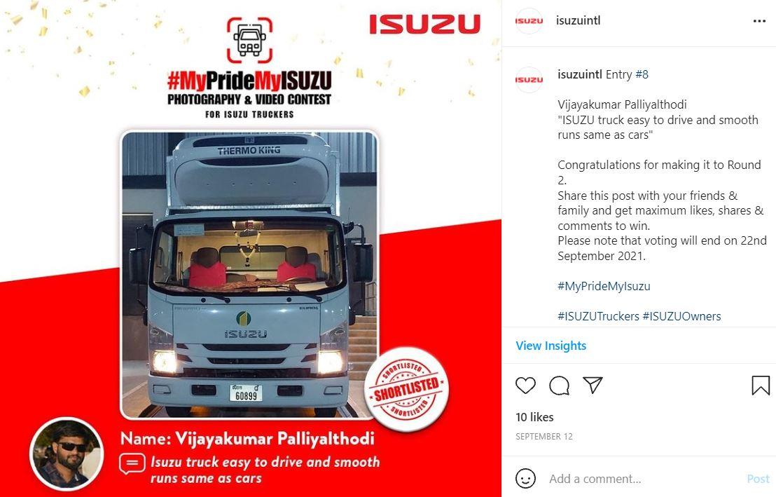 IG - Bronze Winner - UAE MyPrideMyISUZU